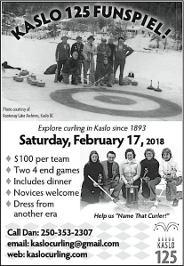 Kaslo 125 Funspiel on Saturday, Feb 17