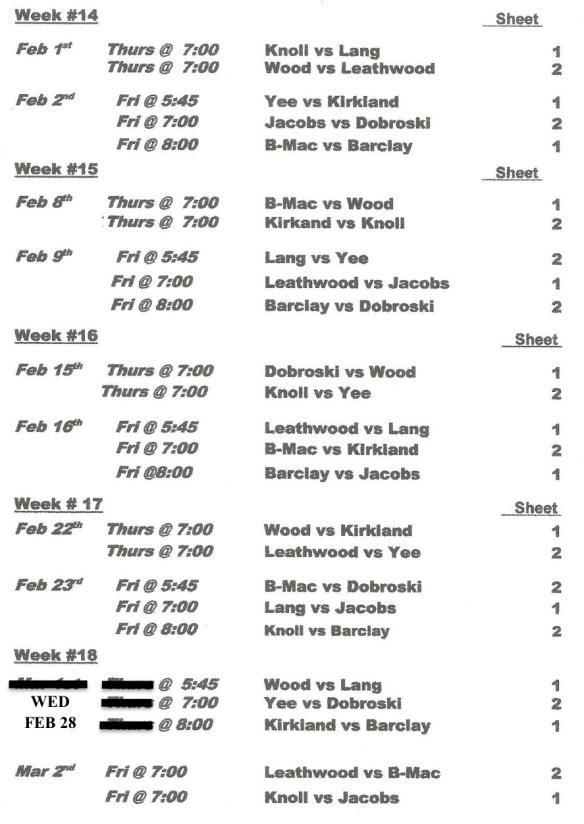 Wk 14-18 schedule