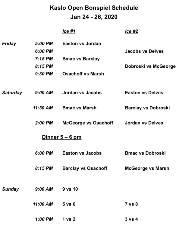 2020 Bonspiel Schedule
